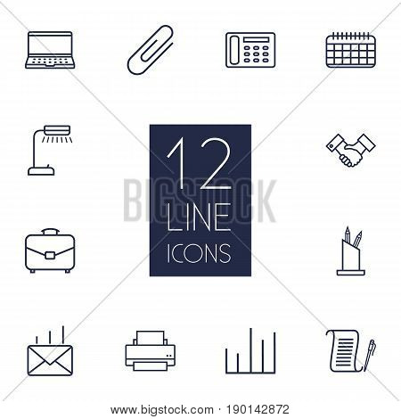 Set Of 12 Bureau Outline Icons Set.Collection Of Notebook, Pen Storage, Chart And Other Elements.