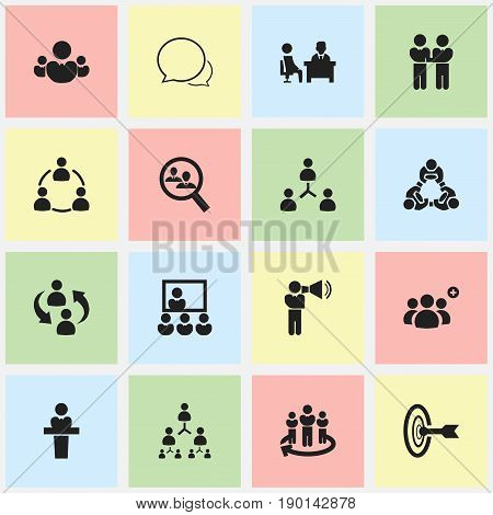 Set Of 16 Editable Team Icons. Includes Symbols Such As Friendship, Conversation, Human Resouces And More. Can Be Used For Web, Mobile, UI And Infographic Design.