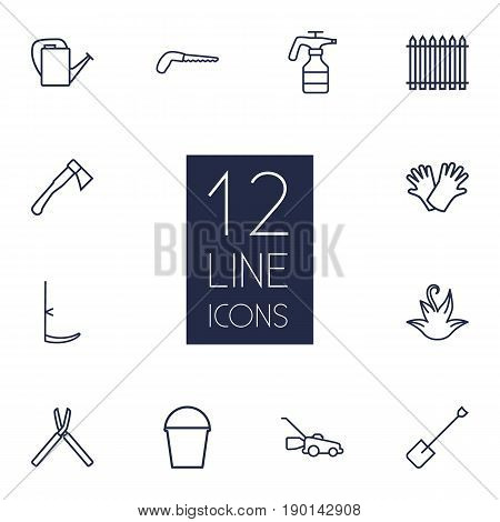 Set Of 12 Farm Outline Icons Set.Collection Of Palisade, Safer Of Hand , Hatchet Elements.