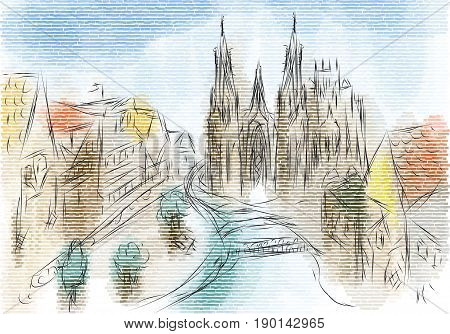 Rouen. abstarct illustration of city on multicolor background