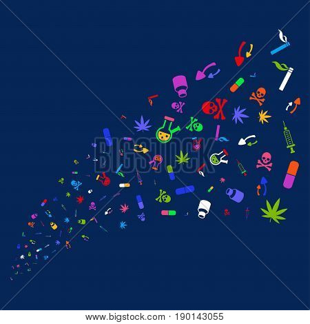Source of narcotic drugs icons. Vector illustration style is flat bright multicolored narcotic drugs iconic symbols on a blue background. Object source done from random symbols.