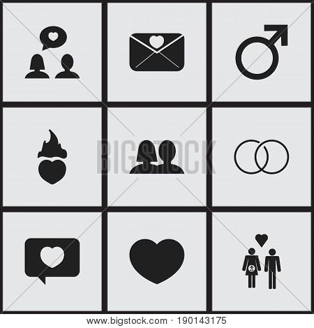 Set Of 9 Editable Heart Icons. Includes Symbols Such As Wedlock, Family, Affection Letter And More. Can Be Used For Web, Mobile, UI And Infographic Design.