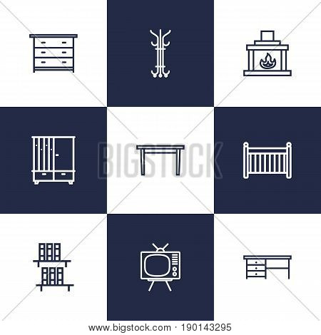Set Of 9 Situation Outline Icons Set.Collection Of Hanger, Hall Tree, Table And Other Elements.