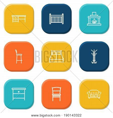 Set Of 9 Set Outline Icons Set.Collection Of Armchair, Crib, Fireplace And Other Elements.
