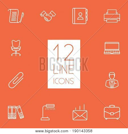 Set Of 12 Bureau Outline Icons Set.Collection Of Printing Machine, Fastener Paper, Notebook And Other Elements.