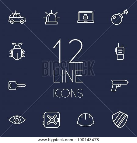 Set Of 12 Safety Outline Icons Set.Collection Of Open, Lock, Virus And Other Elements.