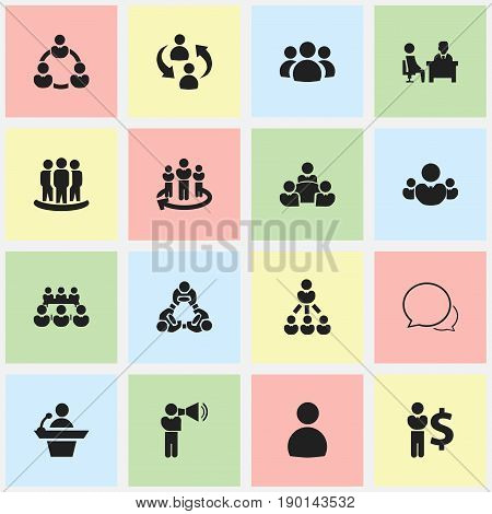 Set Of 16 Editable Business Icons. Includes Symbols Such As Command, Group, Friendship. Can Be Used For Web, Mobile, UI And Infographic Design.