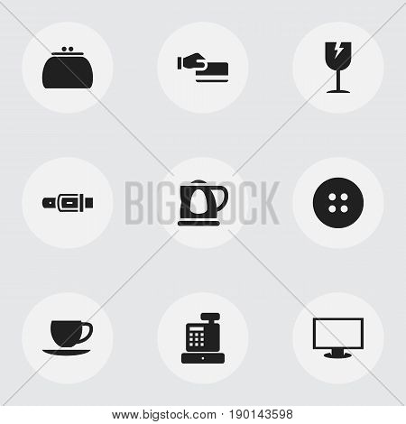 Set Of 9 Editable Shopping Icons. Includes Symbols Such As Teapot, Sewing, Wallet And More. Can Be Used For Web, Mobile, UI And Infographic Design.