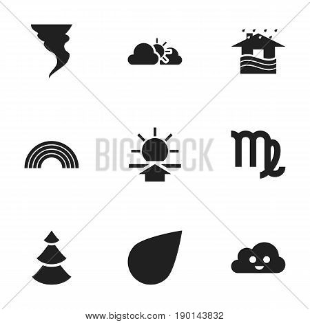 Set Of 9 Editable Weather Icons. Includes Symbols Such As Virgin, Sunset, Sunup And More. Can Be Used For Web, Mobile, UI And Infographic Design.