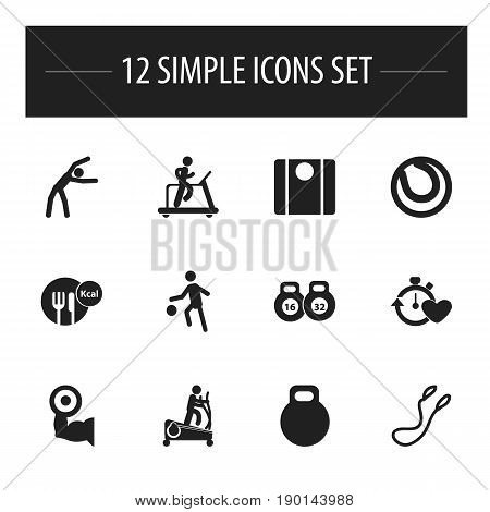 Set Of 12 Editable Fitness Icons. Includes Symbols Such As Balance, Heavy Training, Jogging And More. Can Be Used For Web, Mobile, UI And Infographic Design.
