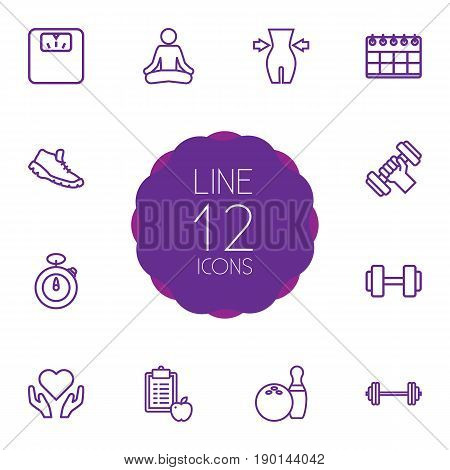 Set Of 12 Bodybuilding Outline Icons Set.Collection Of Scales, Stopwatch, Calendar And Other Elements.