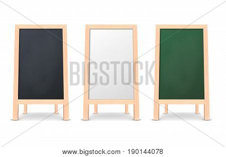 Realistic special menu announcement board icon set. Black, white and green linen. Vector clean restaurant outdoor blackboard background. Mockup of chalkboard for restaurant menu, isolated on white background. Front view. EPS10 illustration.