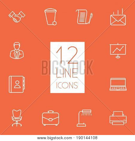 Set Of 12 Bureau Outline Icons Set.Collection Of Portfolio, Telephone Directory, Workplace And Other Elements.