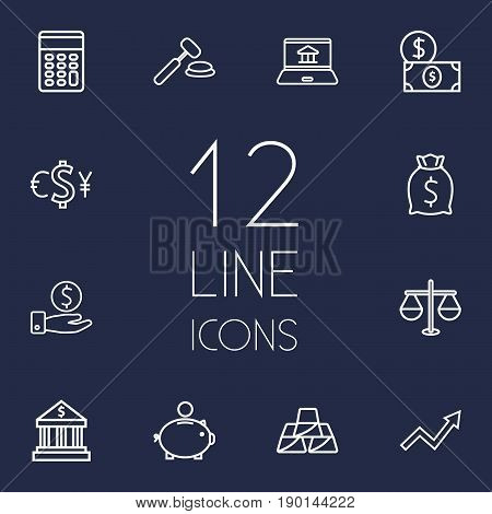 Set Of 12 Budget Outline Icons Set.Collection Of Moneybag, Auction, Golden Bars And Other Elements.