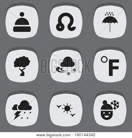 Set Of 9 Editable Air Icons. Includes Symbols Such As Winter Parasol, Timber, Frigid And More. Can Be Used For Web, Mobile, UI And Infographic Design.