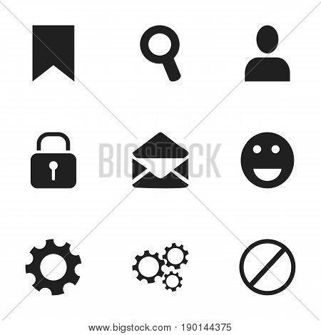 Set Of 9 Editable Web Icons. Includes Symbols Such As Tag, Gear, Settings And More. Can Be Used For Web, Mobile, UI And Infographic Design.