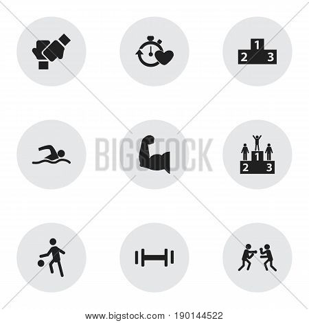 Set Of 9 Editable Fitness Icons. Includes Symbols Such As Sportsman, Gauntlet, Health Time And More. Can Be Used For Web, Mobile, UI And Infographic Design.