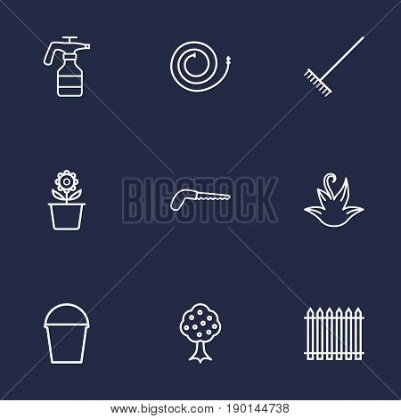 Set Of 9 Farm Outline Icons Set.Collection Of Atomizer, Firehose, Pail And Other Elements.
