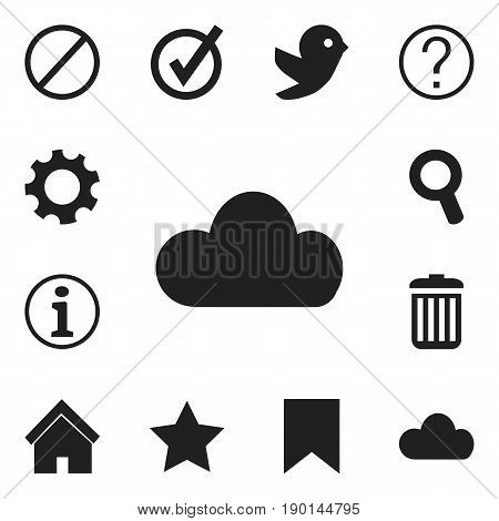 Set Of 12 Editable  Icons. Includes Symbols Such As Bookmark, Quiz, Deny And More. Can Be Used For Web, Mobile, UI And Infographic Design.