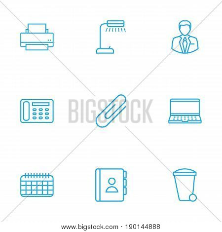 Set Of 9 Bureau Outline Icons Set.Collection Of Fastener Paper, Telephone Directory, Notebook And Other Elements.