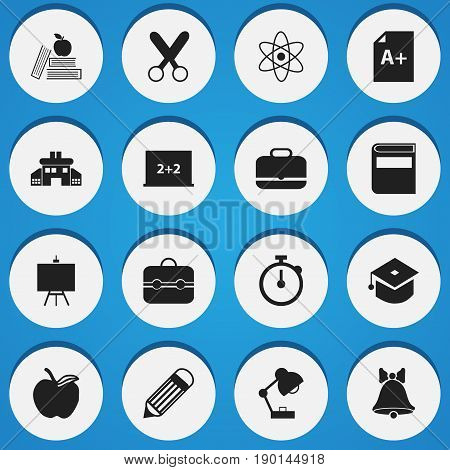 Set Of 16 Editable School Icons. Includes Symbols Such As Jingle, Writing Board, Textbook And More. Can Be Used For Web, Mobile, UI And Infographic Design.