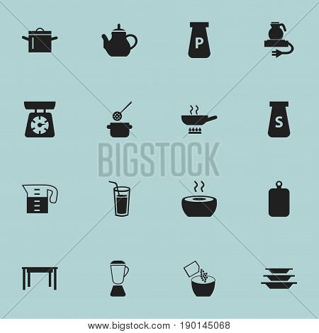 Set Of 16 Editable Cooking Icons. Includes Symbols Such As Salt, Soup, Skimmer And More. Can Be Used For Web, Mobile, UI And Infographic Design.