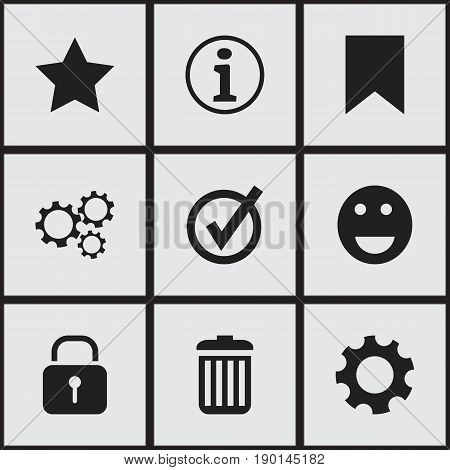 Set Of 9 Editable Internet Icons. Includes Symbols Such As Tag, Approved, Faq And More. Can Be Used For Web, Mobile, UI And Infographic Design.
