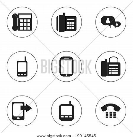 Set Of 9 Editable Gadget Icons. Includes Symbols Such As Transceiver, Home Cellphone, Office Telephone And More. Can Be Used For Web, Mobile, UI And Infographic Design.