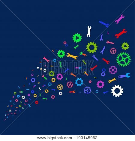 Source stream of setup tools symbols. Vector illustration style is flat bright multicolored setup tools iconic symbols on a blue background. Object stream done from random symbols.