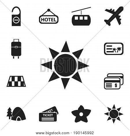 Set Of 12 Editable Journey Icons. Includes Symbols Such As Bag, Bloom, Cableway And More. Can Be Used For Web, Mobile, UI And Infographic Design.