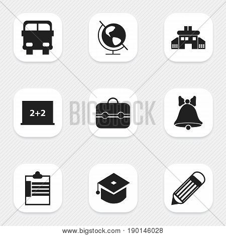Set Of 9 Editable School Icons. Includes Symbols Such As Supervision List, Transport Vehicle, Trunk And More. Can Be Used For Web, Mobile, UI And Infographic Design.