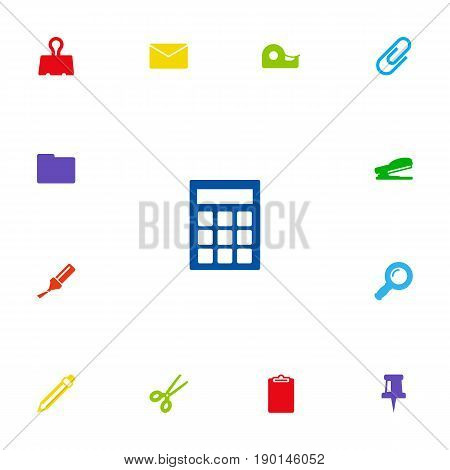 Set Of 13 Stationery Icons Set.Collection Of Zoom Glasses, Puncher, Pushpin And Other Elements.