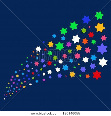 Source stream of six pointed star symbols. Vector illustration style is flat bright multicolored six pointed star iconic symbols on a blue background. Object stream created from scattered icons.