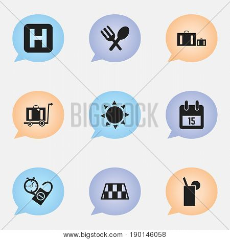 Set Of 9 Editable Travel Icons. Includes Symbols Such As Solar, Date Block, Cutlery And More. Can Be Used For Web, Mobile, UI And Infographic Design.