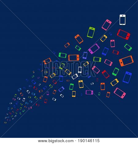 Source stream of smartphone symbols. Vector illustration style is flat bright multicolored smartphone iconic symbols on a blue background. Object fountain created from confetti pictograms.