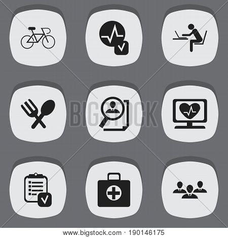 Set Of 9 Editable Complicated Icons. Includes Symbols Such As Velocipede, Search, Cutlery And More. Can Be Used For Web, Mobile, UI And Infographic Design.
