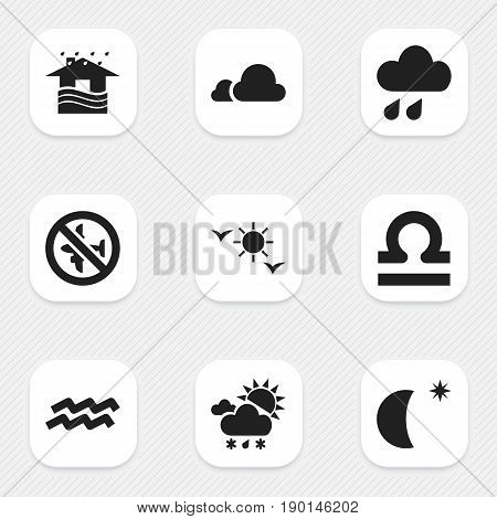 Set Of 9 Editable Climate Icons. Includes Symbols Such As Tornado, Scales, Moon With Star And More. Can Be Used For Web, Mobile, UI And Infographic Design.