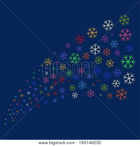 Source of snowflake icons. Vector illustration style is flat bright multicolored snowflake iconic symbols on a blue background. Object source created from scattered icons.