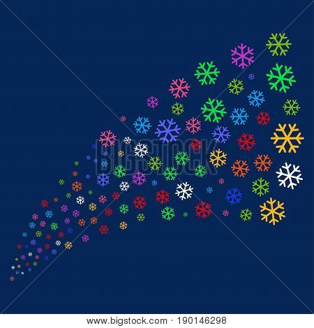 Source of snowflake icons. Vector illustration style is flat bright multicolored snowflake iconic symbols on a blue background. Object source done from scattered icons.