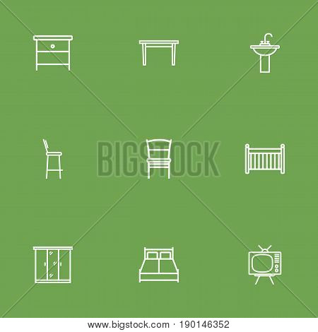 Set Of 9 Decor Outline Icons Set.Collection Of Double Bed, Washbasin, Nightstand Elements.