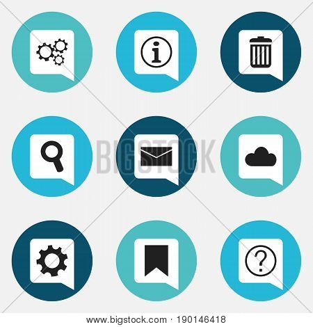 Set Of 9 Editable Network Icons. Includes Symbols Such As Tag, Sky, Mail And More. Can Be Used For Web, Mobile, UI And Infographic Design.