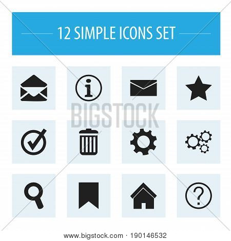 Set Of 12 Editable  Icons. Includes Symbols Such As Approved, Faq, Mail And More. Can Be Used For Web, Mobile, UI And Infographic Design.