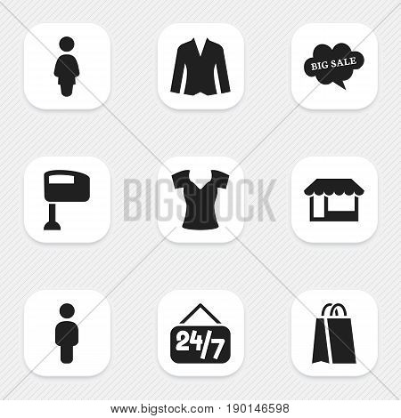 Set Of 9 Editable Shopping Icons. Includes Symbols Such As Vest, Human, Package And More. Can Be Used For Web, Mobile, UI And Infographic Design.