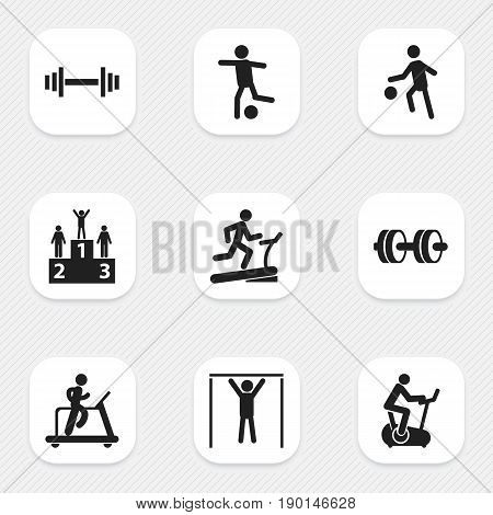 Set Of 9 Editable Lifestyle Icons. Includes Symbols Such As Sportsman, Crossbar, Street Workout And More. Can Be Used For Web, Mobile, UI And Infographic Design.