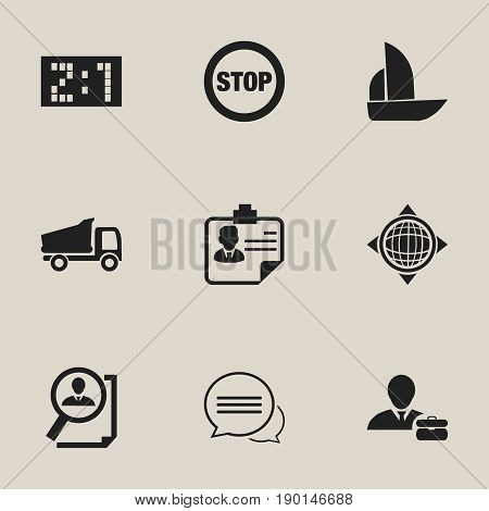 Set Of 9 Editable Complicated Icons. Includes Symbols Such As World, Identification, Result And More. Can Be Used For Web, Mobile, UI And Infographic Design.