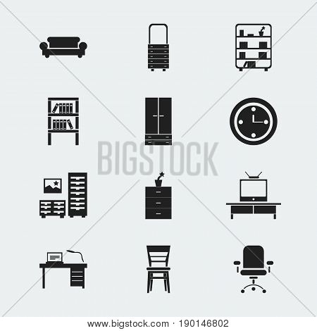 Set Of 12 Editable Furnishings Icons. Includes Symbols Such As Cabinet, Ergonomic Seat, Plant Pot And More. Can Be Used For Web, Mobile, UI And Infographic Design.