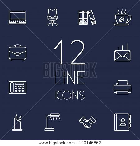 Set Of 12 Cabinet Outline Icons Set.Collection Of Notebook, Pen Storage, Printing Machine And Other Elements.