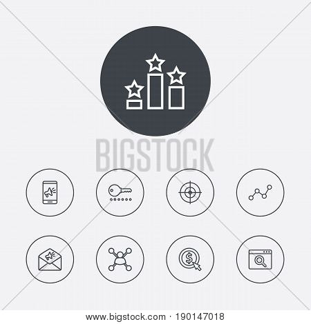 Set Of 9 Search Outline Icons Set.Collection Of Cost Per, Scan, Advertising And Other Elements.