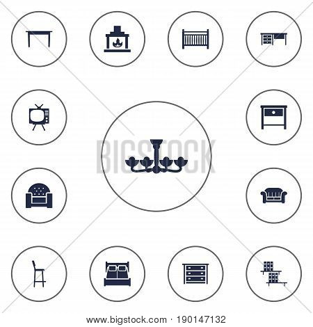 Set Of 13 Situation Icons Set.Collection Of Worktop, Chair, Couch And Other Elements.