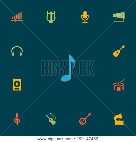 Set Of 13 Music Icons Set.Collection Of Tone Symbol, Percussion, Knob And Other Elements.